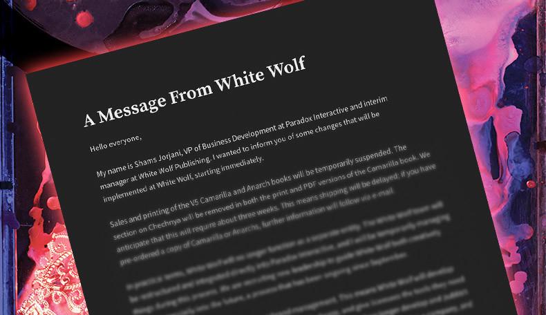 White Wolf entschuldigt sich für Skandal