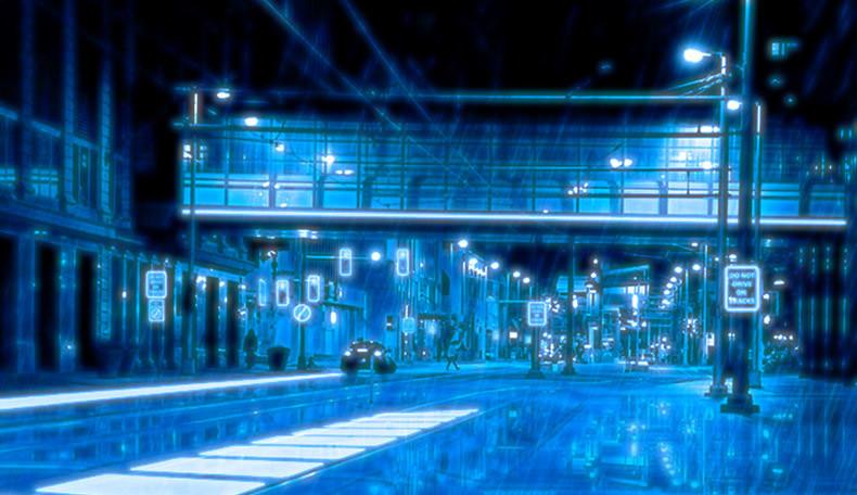Eine schwach belebte und bläulich-futuristische Straße in der Welt von Technoir.