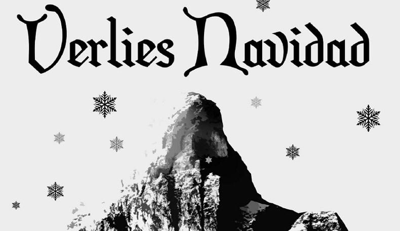 Schriftzug Verlies Navidad über einem Berg und Schneeflocken - Weihnachtsgruß vom Pen & Paper Rollenspiel (PnP) Verlag System Matters