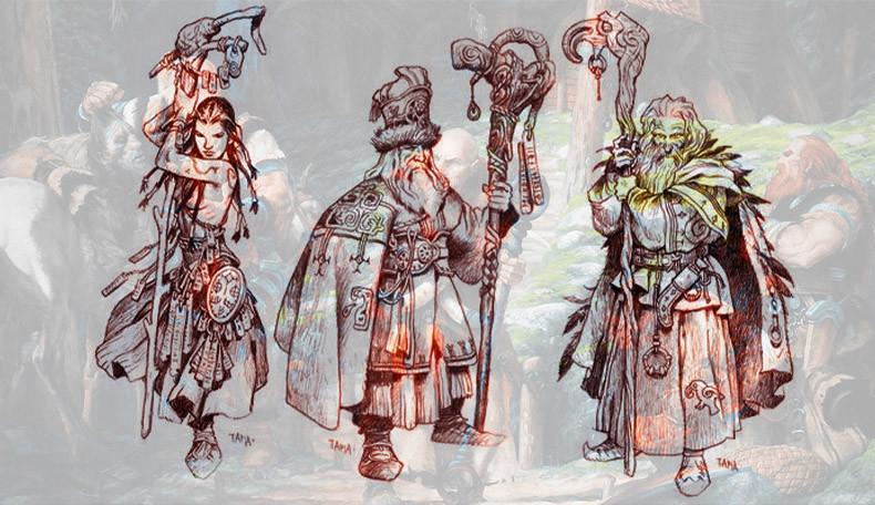 Abbildungen von drei verschiedenen Zauberwebern aus der nordischen Fantasywelt von Trudvang Chronicles