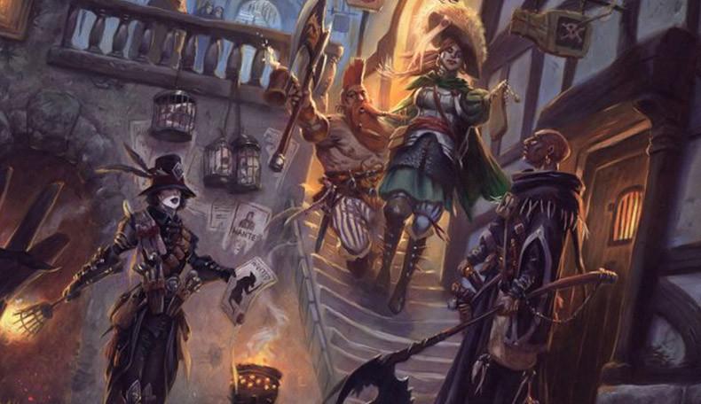 Warhammer Fantasy Starter Set - Das Titelbild enthält eine städtische Szene, heimeliges Licht scheint aus den Fenstern, eine Gruppe von Helden unterhält sich draußen vor einer Tavernentür und überlegt wohin es gehen soll.