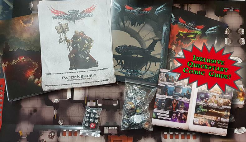 Wrath and Glory im Preview – Alle erforderlichen Spielmaterialien für das neue Pen & Paper Rollenspiel zu Warhammer 40k auf einem Tisch ausgebreitet. Dazu gehören Spielpläne, Regel- bzw. Abenteuerhefet, Würfel, Gegnerchips, vorgefertigte Charaktere usw.
