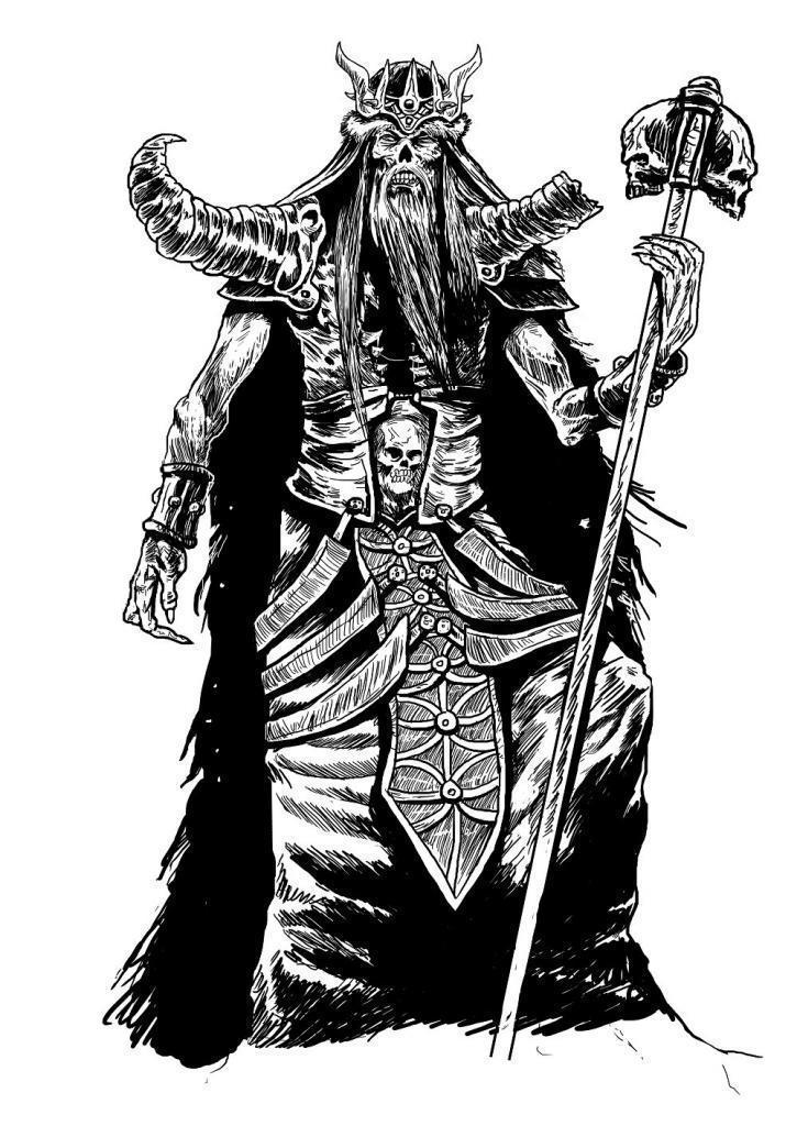Barbarenkönig mit langem Schädelzepter.