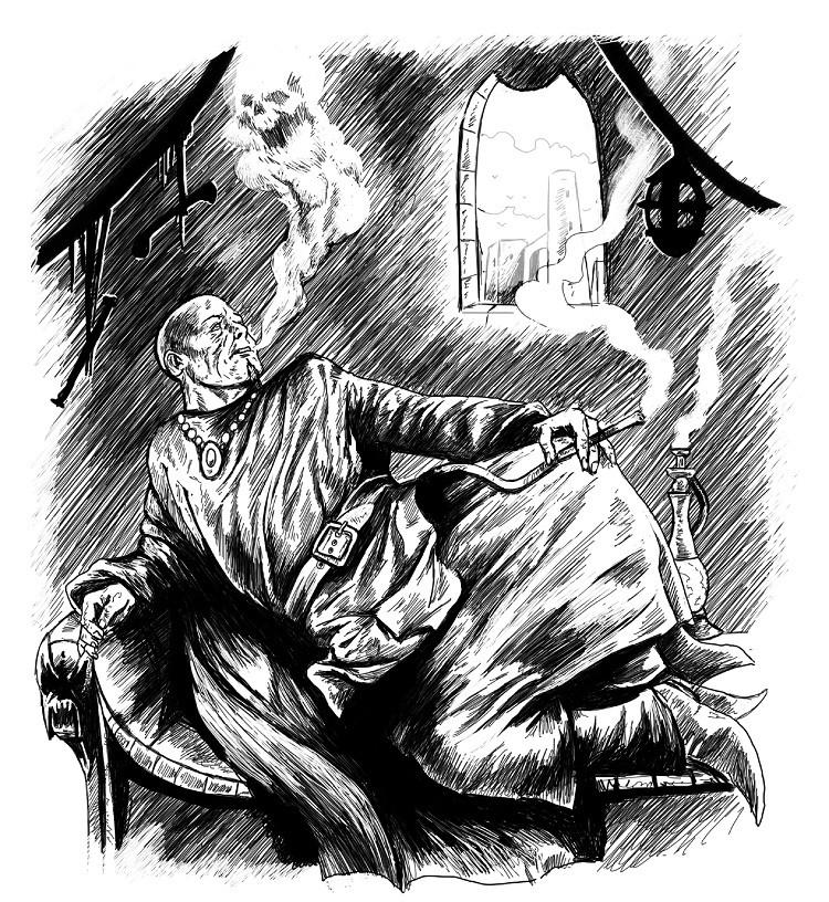 Kahlköpfiger Mann auf einer Ottomane zieht an einer Zigarette und pustet Rauch in Form eines Dämons aus.