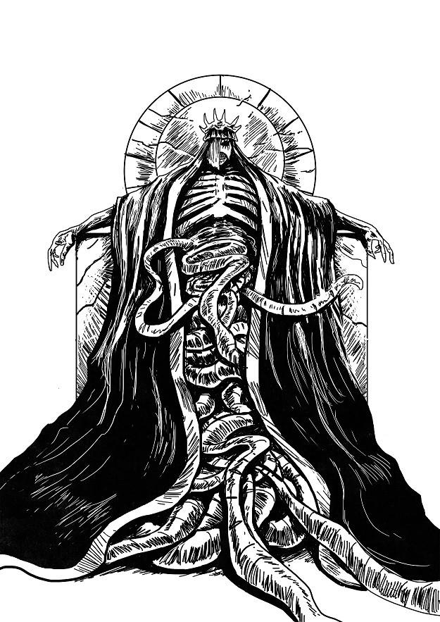 Ein gekrönter Dämon auf einem Thron, dem Gedärme aus dem offenen Bauch quellen.