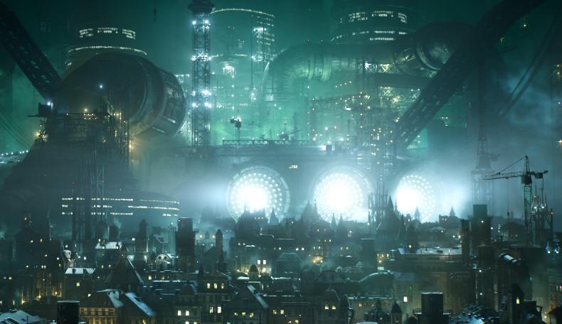 Skyline der Cyberpunk-Metropole Midgar im Final Fantasy VII Remake