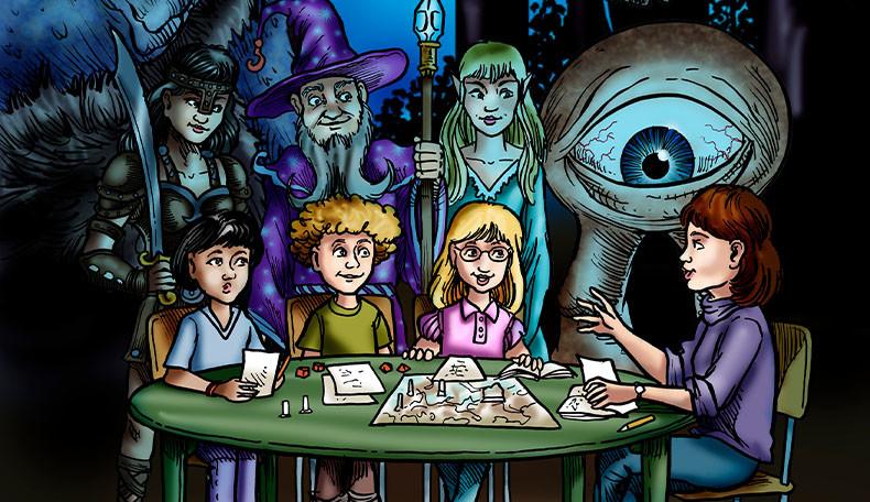 Eine Rollenspielrunde mit dem Kinderrollenspiel Äventyr