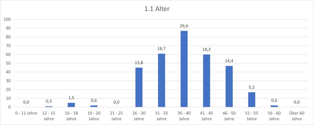 Grafik 1.1 Alter Im Durchschnitt liegt es bei 38,4 Jahren.